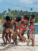 Young men celebrating at 'cricket' game dance, Kitava Island, Trobriand Islands, PNG