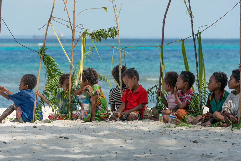 Children on the beach, Kitava Island, Trobriand Islands, PNG