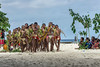 Young men and boys at start of dance, Kitava Island, Trobriand Islands, PNG