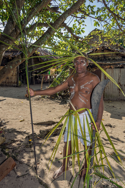 Portrait of a warrior carrying spear and wooden parrying shield #4, Santa Ana Island, Solomon Islands