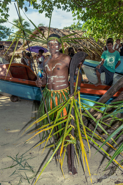 Portrait of a warrior carrying spear and wooden parrying shield #3, Santa Ana Island, Solomon Islands
