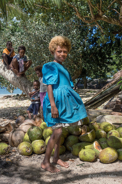 Portrait of a girl in turquoise dress with breadfruit, Utupua Is, Solomon Islands