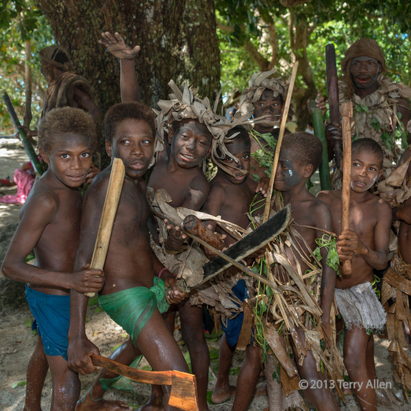 Small 'fierce' boys, Utupua Is, Solomon Islands