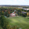 Aerial view of the Burton D. Morgan Building, athletic fields, Ellsworth Hall and the Murdough Athletic Center