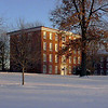Brick Row in winter. The President's House, North Hall and the Chapel are featured.