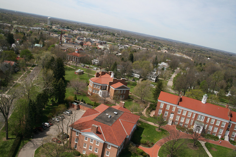 Aerial view (clockwise) of the John D. Ong Library, Seymour Hall and Wilson Hall