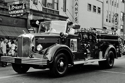 Engine 6 in Fire Prevention Week parade 1954. Courtesy of Raleigh News & Observer.