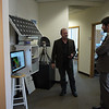 Brandon Rattiner, Denver Metro Area Regional Director for Senator Mark Udall visits UNAVCO. 26 April 2013.<br /> Pictured: Dave Mencin, Brandon Rattiner