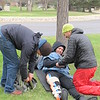 UNAVCO field engineers and others participate in a Wilderness First Aid course taught by the National Outdoor Leadership School (NOLS) Wilderness Medicine Institute on April 1-3, 2015, at the UNAVCO facility in Boulder, Colo. (Photo/Melissa Weber)