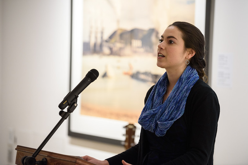 "(02/04/18 FITCHBURG MA) ""Facing Addiction"" co-coordinator Hillary Mullan speaks at the opening of a new exhibit at the Fitchburg Art Museum titles ""Faceing Addiction"" on Sunday.  SENTINEL & ENTERPRISE JEFF PORTER"