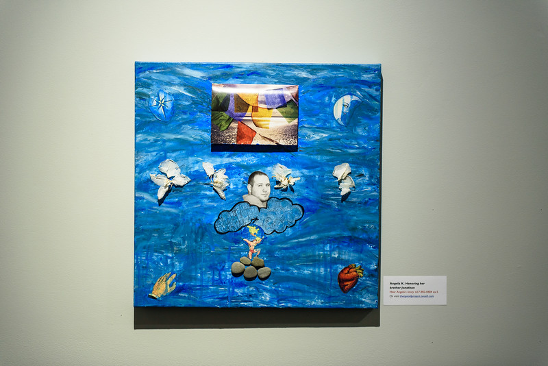 "(02/04/18 FITCHBURG MA) Work's of art covering the topic of addiction are on display at the Fitchburg Art Museum on Sunday as part of a new exhibition called ""Facing Addiction."" SENTINEL & ENTERPRISE JEFF PORTER"