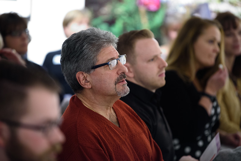 """(02/04/18 FITCHBURG MA)  Fitchburg Mayor Stephen DiNatalie attends the opening of a new exhibit at the Fitchburg Art Museum titled """"Facing Addiction"""" on Sunday.  SENTINEL & ENTERPRISE JEFF PORTER"""