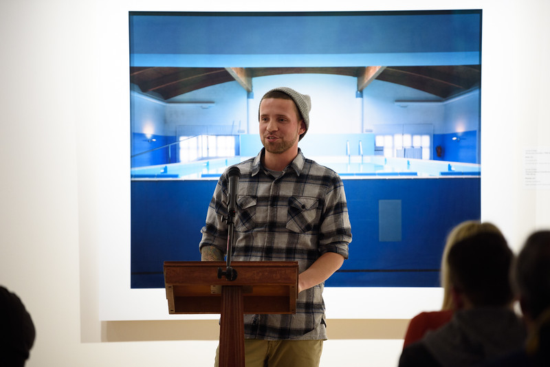 "(02/04/18 FITCHBURG MA) Charles Draleau, 30, of Fitchburg speaks from a personal perspective during Sunday's opening of a new exhibit titles ""Facing Addiction"" at the Fitchburg Art Museum.  SENTINEL & ENTERPRISE JEFF PORTER"