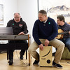 "(02/04/18 FITCHBURG MA) Musician and founder of  ""Right Turn,"" Woody Giessmann (left), Greg DeSimone (center) and Paul Size perform at the opening of the Fitchburg Art Museum's new exhibit ""Facing Addiction"" on Sunday.  SENTINEL & ENTERPRISE JEFF PORTER"