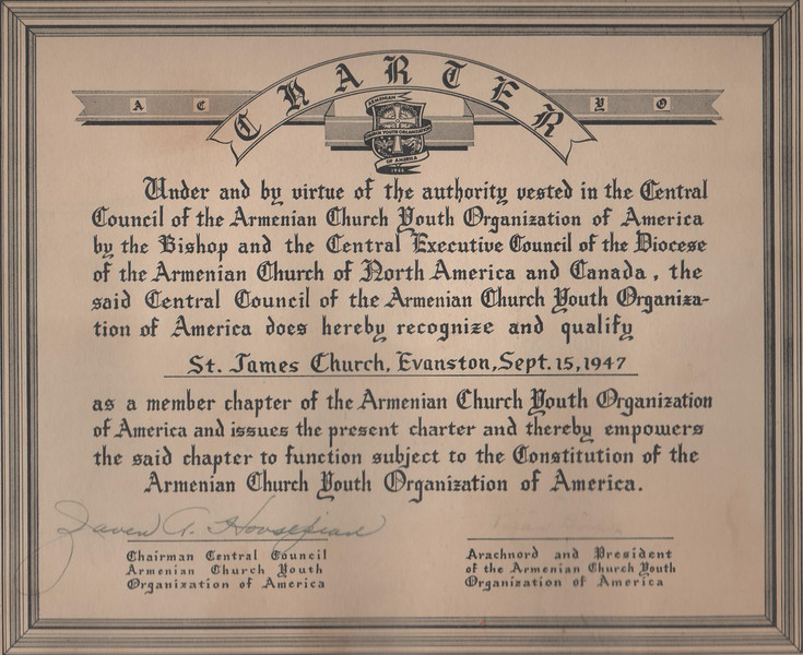 Certificate recognizing St. James ACYOA Chapter