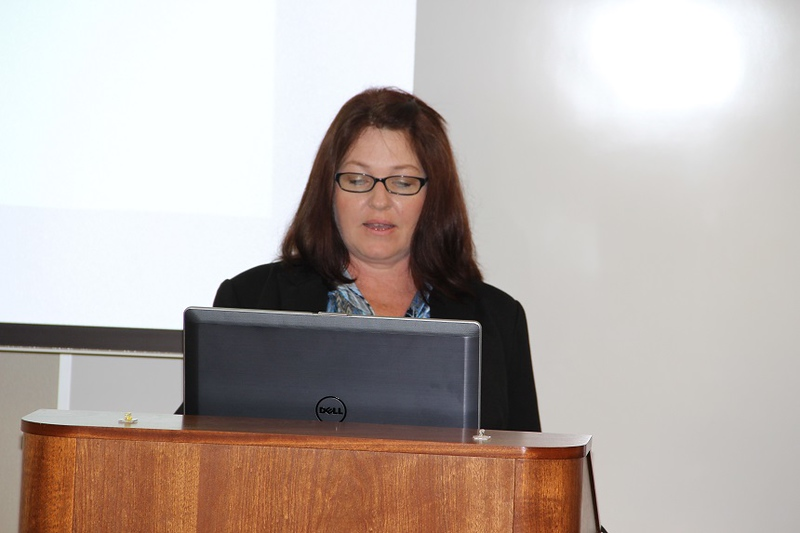 Rachelle Morehouse speaks at the Sustainability conference.