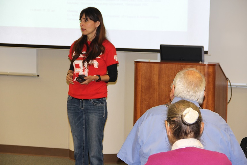 Sonya Christian speaks at the Sustainability conference.
