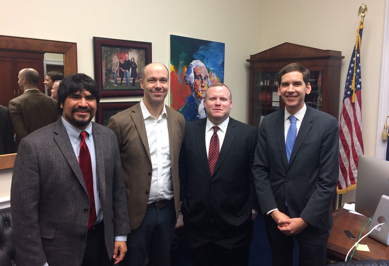 left to right: Oliver Rosales, Josh Ottum, Andrew Bond and Trevor Smith, Legislative Assistant to Congressman Kevin McCarthy (R-CA).