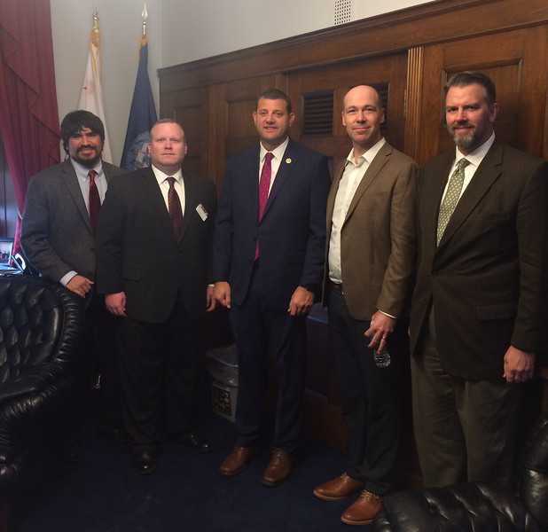 left to right: Oliver Rosales, Andrew Bond, Congressman David Valadao (R-CA), Josh Ottum and NEH Director of Congressional Affairs Timothy Robinson.