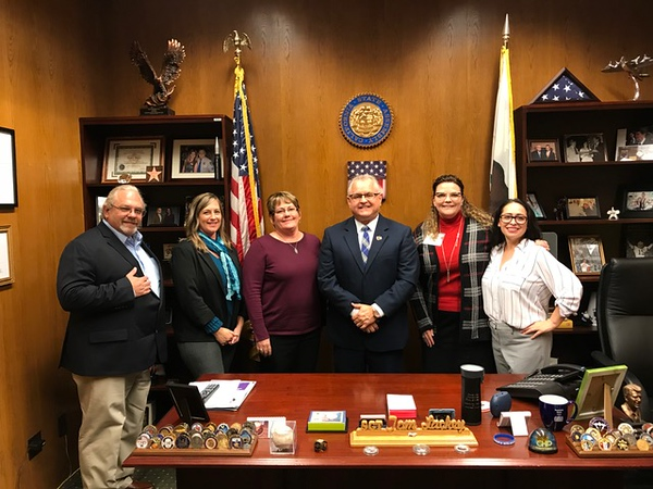 Mike Barrett (CC); Cammie Ehret-Stevens (DO); President Jill Board (CC); Assemblyman Tom Lackey representing the 36th District; Vice Chancellor, Human Resources Tonya Davis; Nikki Gardepe (CC)