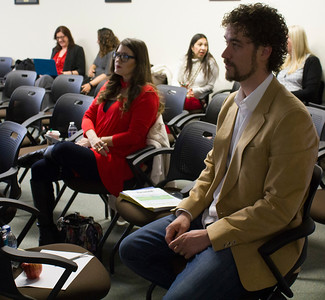 "BC Counselors Sarah Villasenor (background) and Jonathan Schulz (foreground) converse during a break-out session for the ""Get Focused...Stay Focused!"" presentation in the Levan Center Feb. 26."