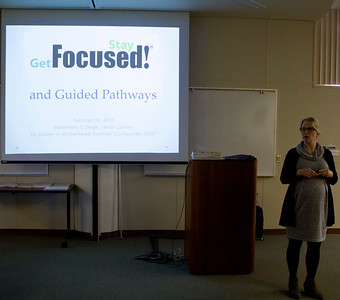 "Dr. Lauren A. Wintermeyer Ramirez, co-founder of the ""Get Focused...Stay Focused!"" initiative and a counselor at Ventura College, presents in the Levan Center on Feb. 26."