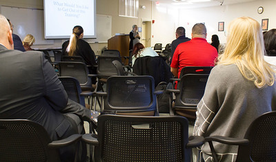 "BC Counselors and staff listen to the ""Get Focused...Stay Focused!"" presentation in the Levan Center on Feb. 26."