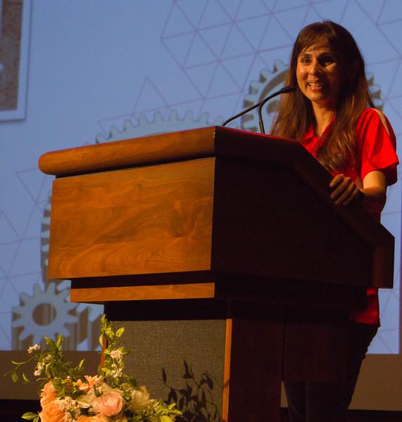 Sonya Christian gives the closing address to Liz's retirement ceremony.