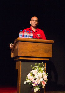 Dean of Instruction Manny Mourtzanos delivers the opening address to Liz Rozell's retirement ceremony.