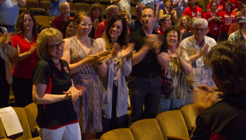 Liz accepts a standing ovation at her retirement ceremony.