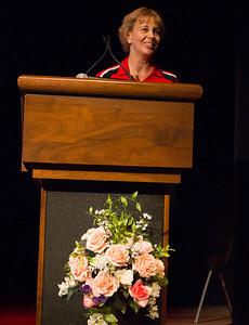 Billie Jo Rice speaks at Liz Rozell's retirement reception.