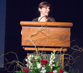 Sonya Christian announces the President's Leadership Awards.
