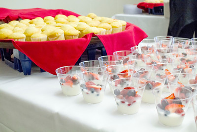Food Services prepared muffins and parfaits for Closing Day.