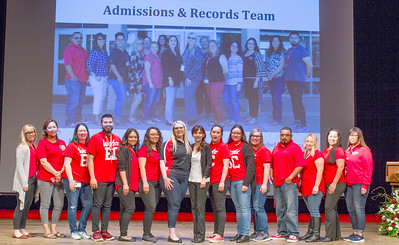 The Admissions and Records team receives a 2019 President's Leadership Award.