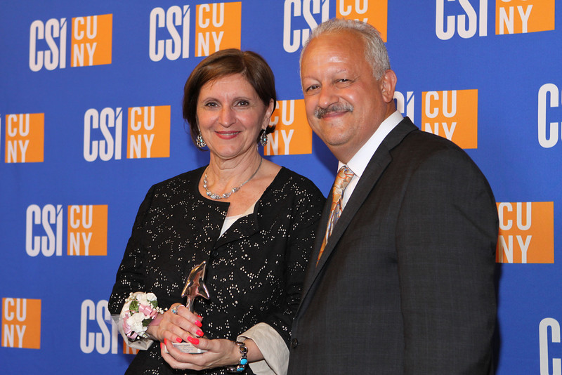 Dolphin Award for Outstanding Service and Contribution to the College by a Member of the Non-Instructional Staff  in Clerical Function:<br /> Loretta Campbell, CUNY Administrative Assistant in the Department of Business.<br /> <br /> You joined the CSI Business Department 12 years ago. Since then, you have proven to be an invaluable asset to everyone involved in the Department, helping new Chairs to easily transition into their positions with your expertise and sterling organizational skills, helping the Department to cope with difficult adjustments brought on by budgetary restraints, working outside of your required hours to ensure that critical tasks are completed, and doing whatever you can to boost morale. An aspect of your personality that all of your letters of recommendation for this award have mentioned is your superior people skills. Whether you provide excellent, patient, and friendly assistance to students who are often at their wits' end, extend departmental hospitality to visiting scholars and students, or guide graduates and their guests at Commencement ceremonies, you do it all with a charm and grace that people remember fondly.<br /> <br /> Today, we celebrate your tireless dedication, commitment, and contribution to our campus community.