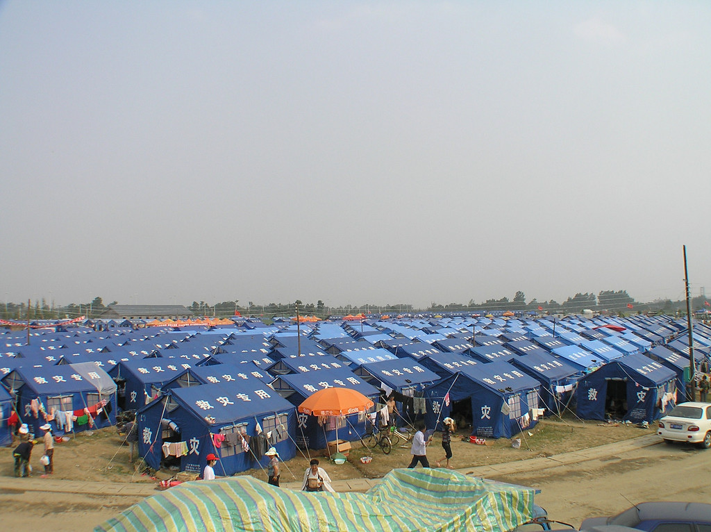 A huge tent city provided temporary home to tens and thousands of refugees in the City of Mianzhu.