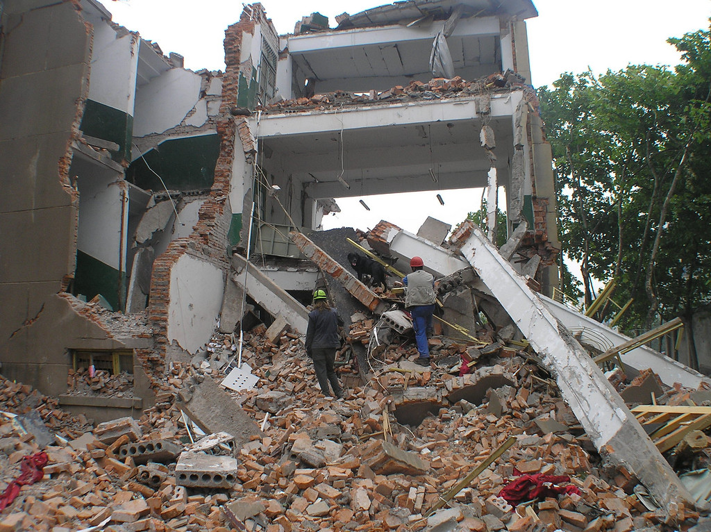 The Hangwang Central Primary School collapsed, where many bodies of school children were not dug out more than ten days after the quake. A Dutch search team with their search dogs was working on the collapsed building.