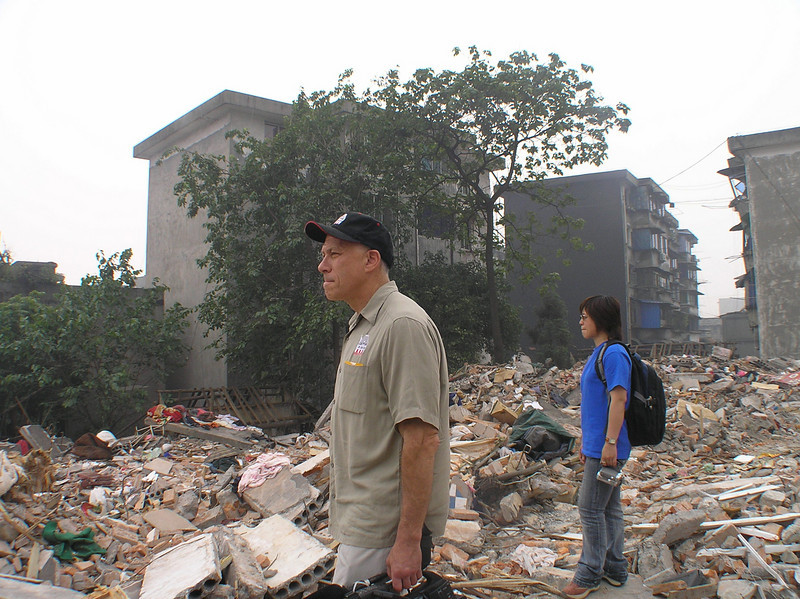 Two other producers, Jon Alpert (also one of the directors, a 15-time Emmy-award winner) and Michelle Mi (a filmmaker from Shanghai), were standing on ruins and gazing at the scale of destruction.