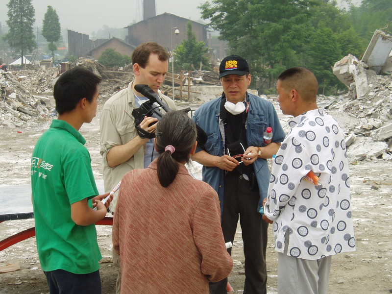 Other two producers, Matthew O'Neill (also one of the directors) and Peter Kwong (professor of sociology from Hunter College and the Graduate Center, CUNY), were interviewing the parents whose school children were killed at Xiang'e High School in a township near the city of Dujiangyan.