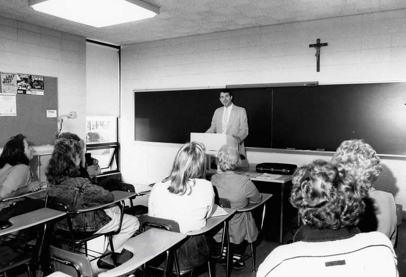 "Wayne Huss giving a lecture entitled, ""Who Were We,"" September 1988"