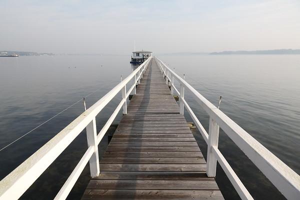 Kiel, Ostsee, ein Bootshaus in der Kieler Foerde.