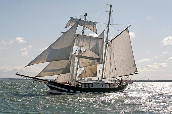 13.09.2008, Kiel, Traditionssegler waehrend des -Tiessen Race-, der Regatta-Kurs fuehrt von Kiel nach Kappeln.