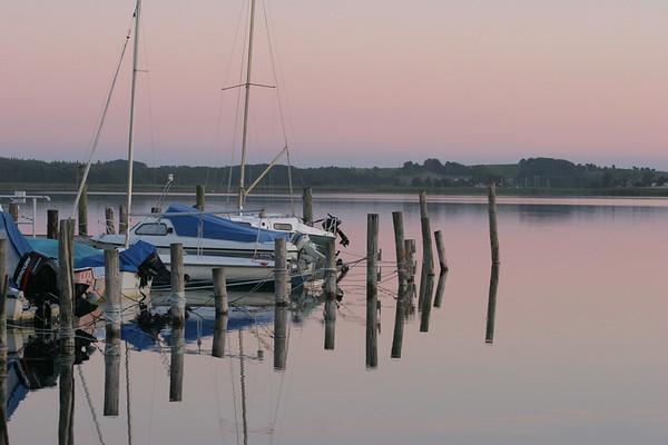 Sellin auf Ruegen, Abendstimmung am Sportboothafen am Binnensee.