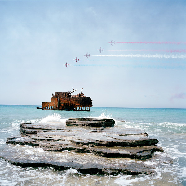 Cyprus - Akrotiri - RAF Red Arrows traing over ship wreck
