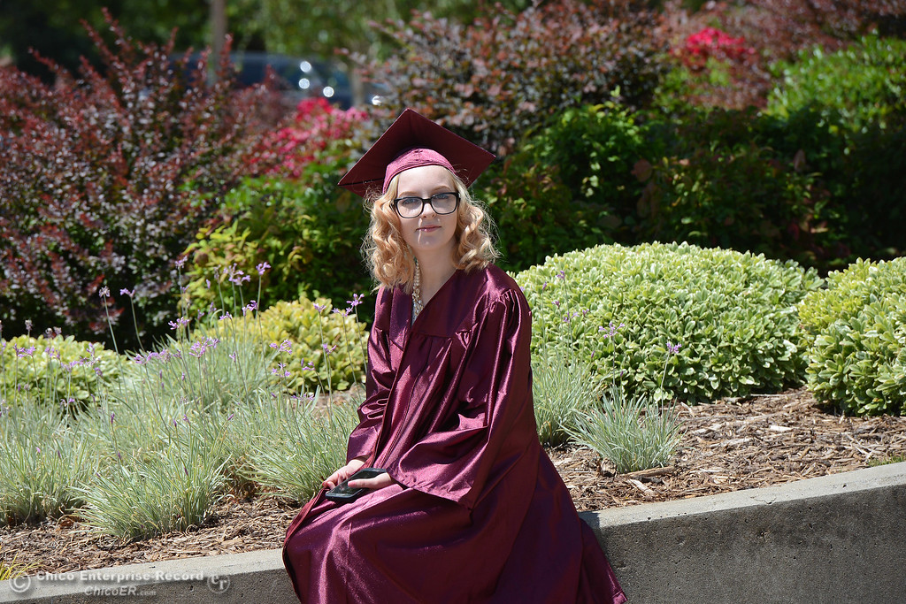 . Jadea Nash takes a seat Tuesday, June 6, 2017, outside Neighborhood Church just before Fair View High School\'s class of 2017 graduates in Chico, California. (Dan Reidel -- Enterprise-Record)