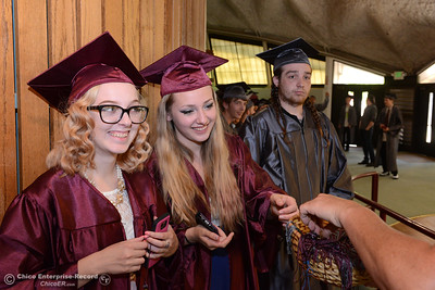 Left to right, Jadea Nash, Amethyst Beacon, and Dominic Donato get their graduation tassel from Sherri Boone as Fair View High School's class of 2017 graduates Tuesday, June 6, 2017, at Neighborhood Church in Chico, California. (Dan Reidel -- Enterprise-Record)