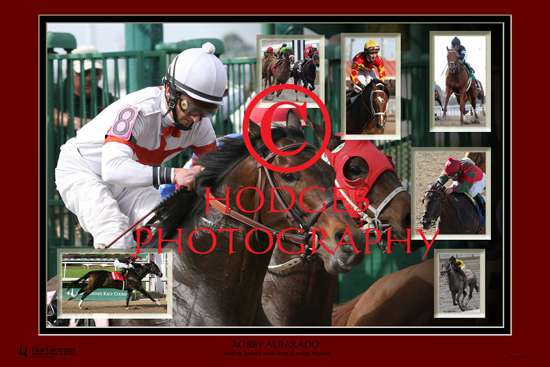 Composite photo of leading jockey, Robba Albarado, for the 2008-2009 Fair Grounds Race Course meeting.