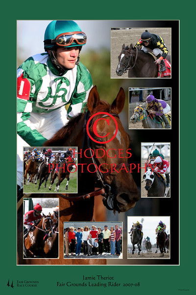 Composite photograph of Jamie Theriot, the leading frider at the Fair Grounds Race Course, 2007-2008.