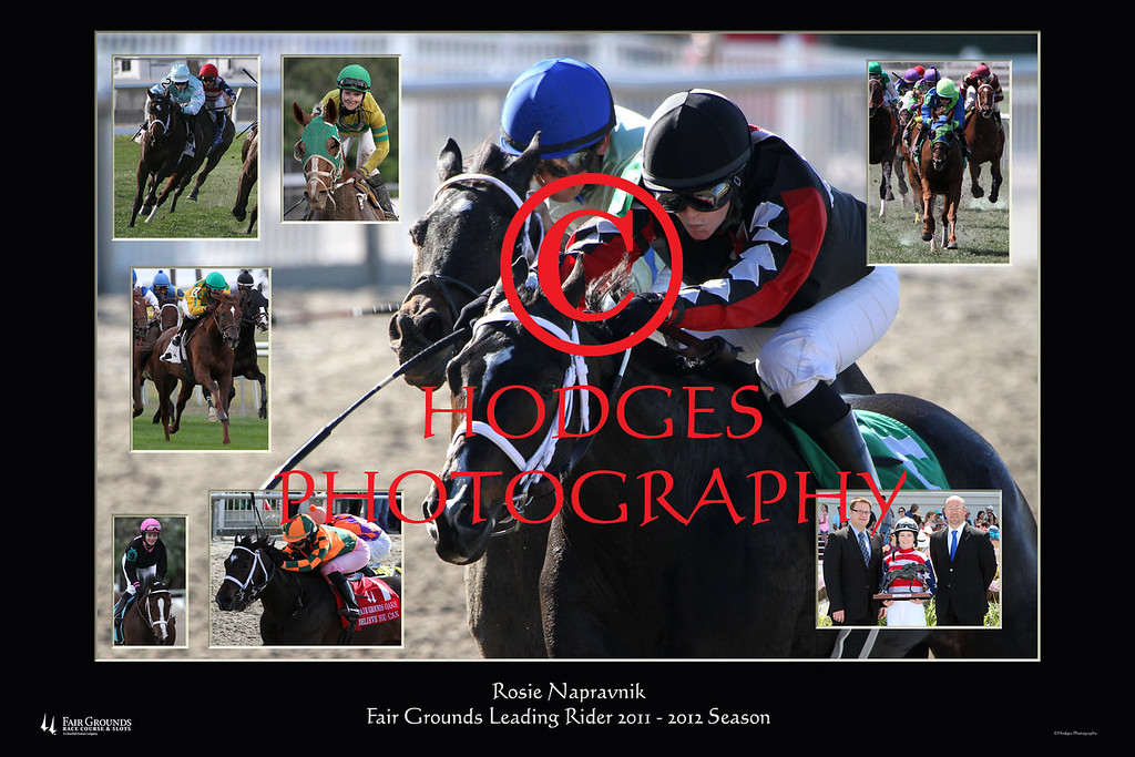 Composite photograph of Rosie Napravnik, Fair Grounds leading rider for the 2011-2012 season.