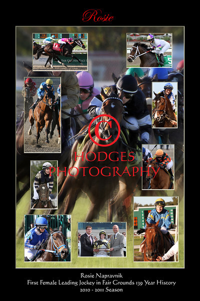 Composite photograph of Rosie Napravnik, the first female leading jockey at the Fair Grounds Race Course, 2010-2011 season.